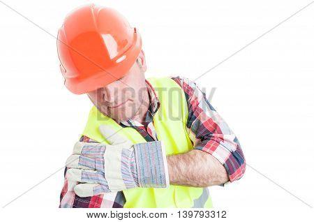 Young Builder Having Injured Shoulder