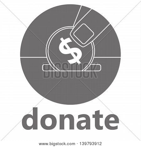 Line vector drawing of fingers placing a dollar coin in a slot above the word Donate in grey and white