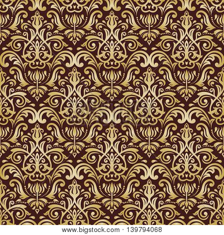 Seamless damask vector pattern. Traditional classic orient ornament. Brown and golden pattern