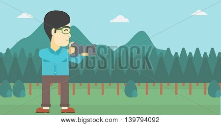 An asian young man taking a photo of landscape. Photographer taking a picture in the mountains. Nature photographer with digital camera. Vector flat design illustration. Horizontal layout.