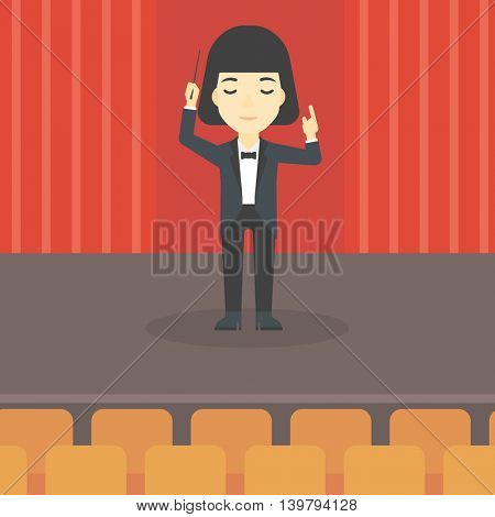 An asian young orchestra conductor directing with baton. Concentrated woman conducting an orchestra on the stage. Vector flat design illustration. Square layout.