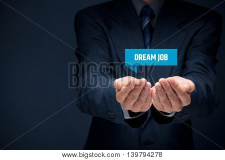 Dream job offer concept. Human resources recruiter offer dream job.