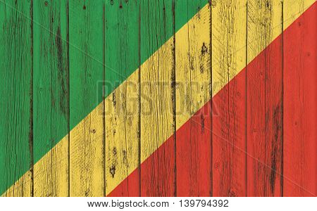 Flag of Congo Republic painted on wooden frame