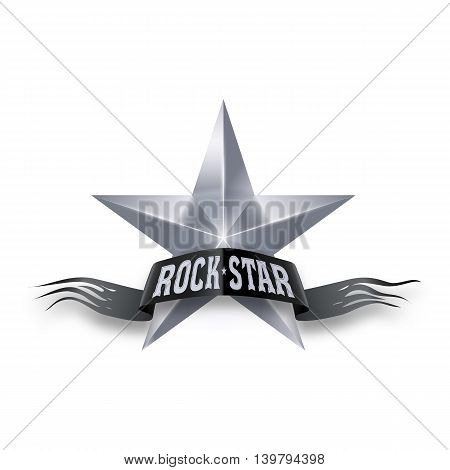 Silver star with black torn Rock Star banner. Illustration on white background