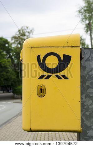 Bad Wildungen, GERMANY - 24 JULi: Yellow German Post Deutsche Post DH