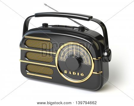 Black vintage retro radio receiver isolated on white. 3d illustration