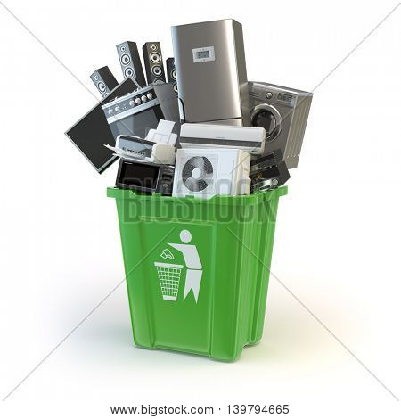 Old kitchen appliances in the rubbish bin isolated on white. Time to change home technics. Recycling concept. 3d illustration