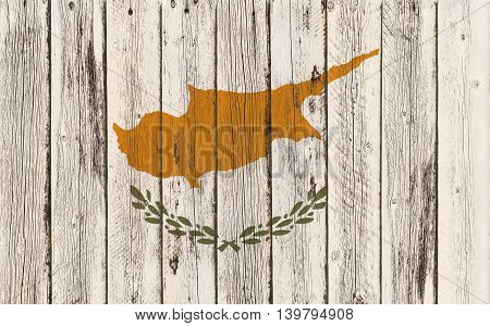 Flag of Cyprus painted on wooden frame