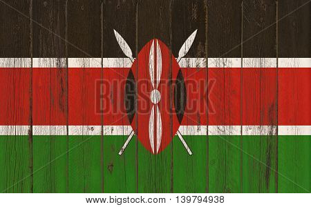 Flag of Kenya painted on wooden frame