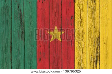 Flag of Cameroon painted on wooden frame