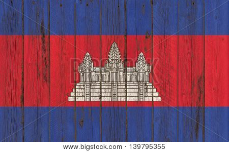 Flag of Cambodia painted on wooden frame