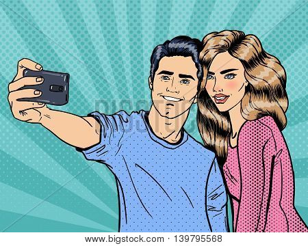 Young Loving Couple Making Selfie on Smartphone. Pop Art. Vector illustration