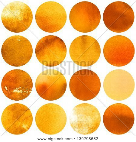 Watercolor autumn circles collection in yellow and orange colors. Watercolor stains set isolated on white background. Watercolour palette. Seamless retro geometric pattern, wrapping paper.