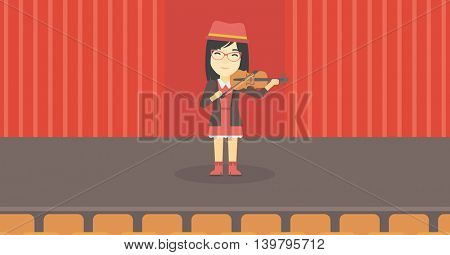 An asian young woman playing violin. Violinist playing classical music on violin. Woman with violin standing on the stage. Vector flat design illustration. Horizontal layout.