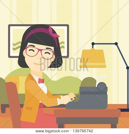 An asian female journalist writing an article on a vintage typewriter on the background of living room. Female journalist at work smoking pipe. Vector flat design illustration. Square layout.