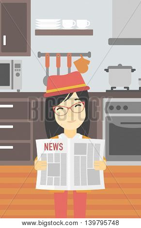 An asian happy woman reading the newspaper. Young smiling woman reading good news. Woman with newspaper in hands on the background of kitchen. Vector flat design illustration. Vertical layout.
