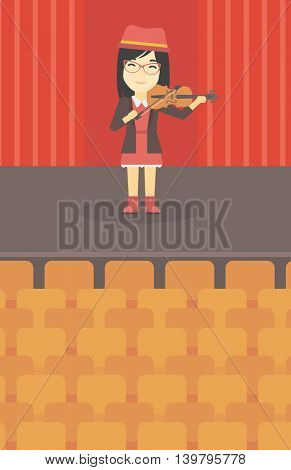 An asian young woman playing violin. Violinist playing classical music on violin. Woman with violin standing on the stage. Vector flat design illustration. Vertical layout.