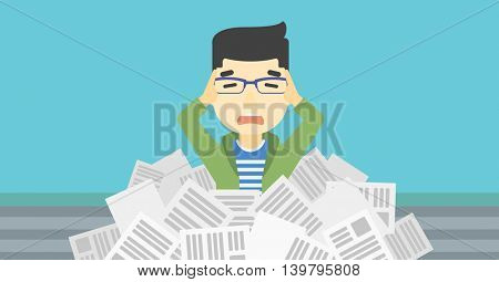 An asian stressed man clutching his head because of having a lot of work to do. Busy businessman with lots of papers. Vector flat design illustration. Horizontal layout.