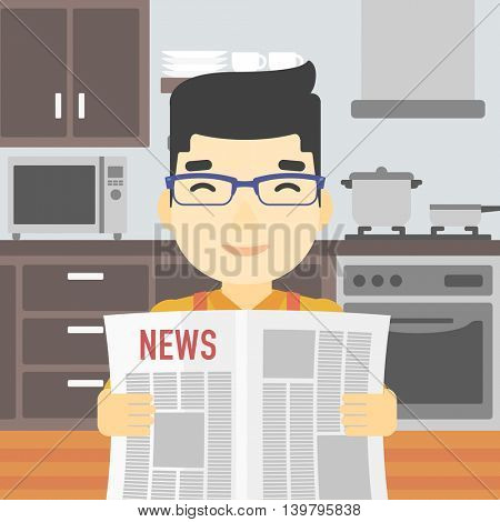 An asian happy man reading the newspaper. Young smiling man reading good news. Man with newspaper in hands on the background of kitchen. Vector flat design illustration. Square layout.