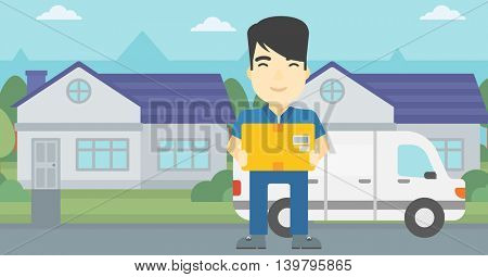 An asian delivery man with box on background of delivery truck. Delivery man carrying cardboard box. Man with a box in his hands. Vector flat design illustration. Horizontal layout.