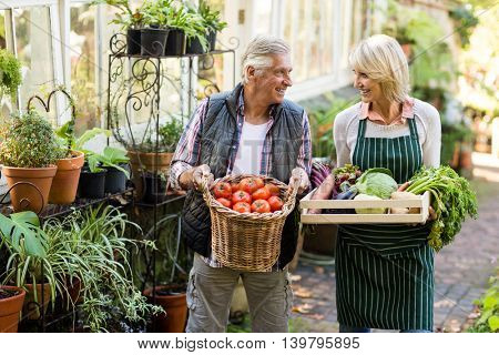 Happy couple carrying fresh vegetables outside greenhouse