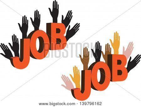 human hands colored and black various races to job search