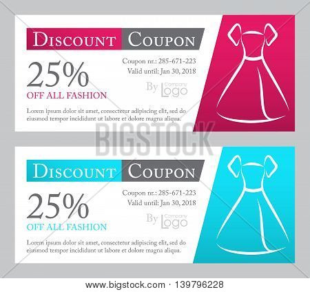Fashion discount coupon with line illustration of dress on dark pink and blue background