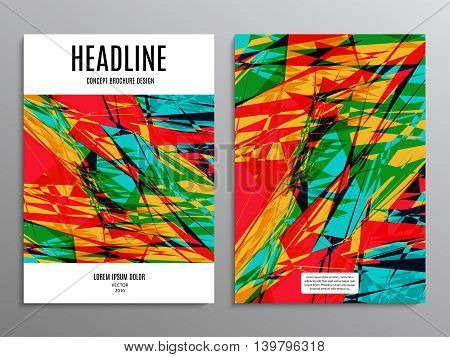 business brochure template or layout design flyer in A4 size with abstract colored background. stock vector illustration eps10