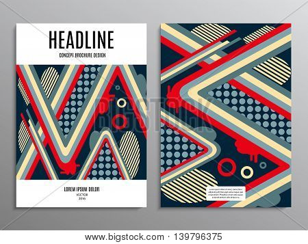 business brochure template or layout design flyer in A4 size with abstract modern pattern on background. stock vector illustration eps10