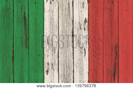 Flag of Italy painted on wooden frame