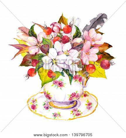 Tea cup design with autumn leaves, berries, flowers and vintage feathers. Watercolor for tea time in vintage style