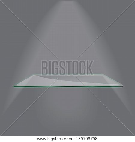 Empty advertising glass shelf withh a spot lignt grey background