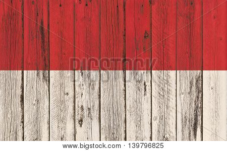 Flag of Indonesia painted on wooden frame
