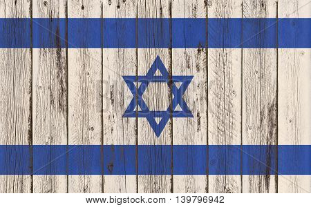Flag of Israel painted on wooden frame