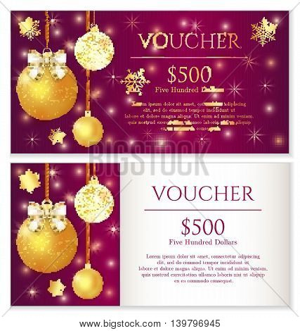 Luxury red Christmas voucher with golden snowflakes and white ribbon decoration