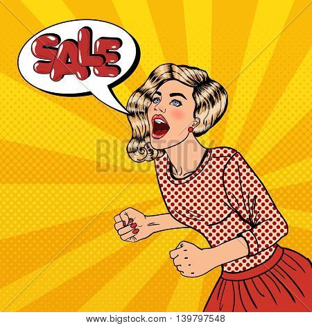 Happy Young Woman Shouting Sale. Big Sale Poster. Pop Art Vector illustration