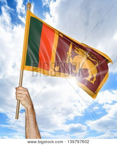 Person's hand holding the Sri Lankan national flag and waving it in the sky, 3D rendering