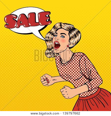 Happy Young Woman Shouting Sale. Big Sale Poster. Pop Art Vector illustration
