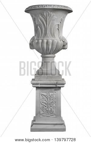 Old vintage marble garden urn isolated with clipping path