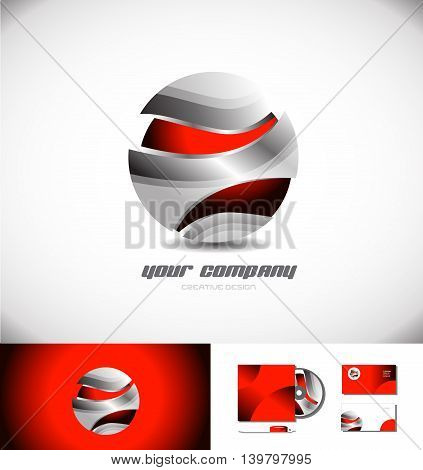 Vector company logo icon element template metal metallic grey red sphere 3d games media business corporate