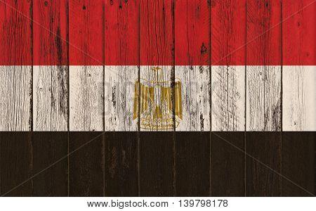 Flag of Egypt painted on wooden frame