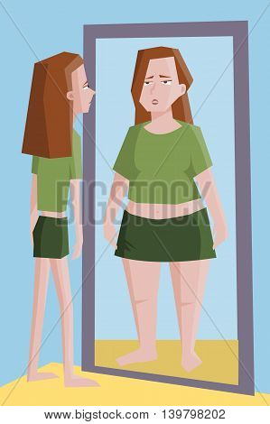 thin girl seeing  in the mirror fat herself - funny cartoon illustration of women problem