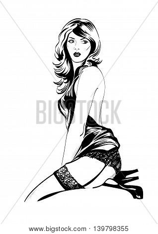 Vector fashion illustration of sensual woman in blue lingerie