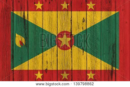 Flag of Grenada painted on wooden frame