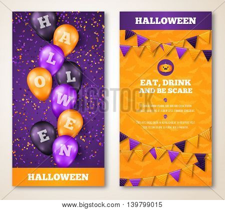 Halloween Vertical Banners Set with Balloons and Flag Garlands Decorations. Vector Illustration. Party Invitation in Traditional Colors. Place for your Text. Holiday Menu Design.
