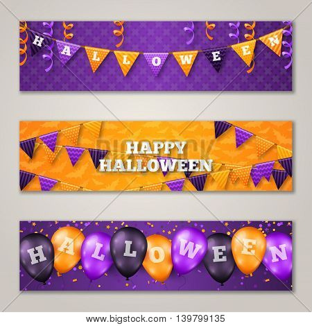 Halloween Horizontal Banners Set with Balloons and Flag Garlands Decorations. Vector Illustration. Party Decor in Traditional Colors. Trick or Treat. Holiday Greetings, Confetti and Serpentine