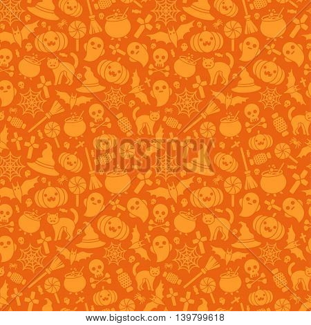 Halloween Seamless Pattern with Pumpkin, Spider Web, Candy, Witch Hat, Broom and Cauldron, Skull and Crossbones. Vector Illustration. Flat Monochrome Icons on Orange Background