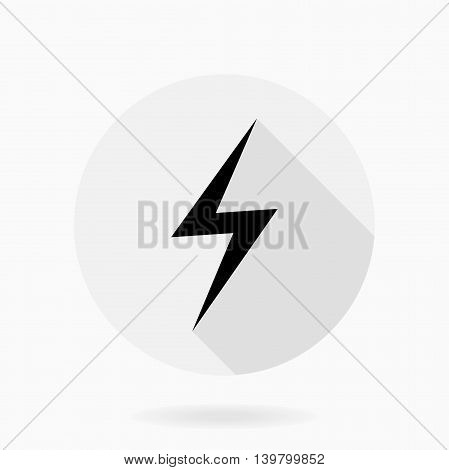 Fine vector icon with thumb up in circle. Flat design with long shadow. Black and white color