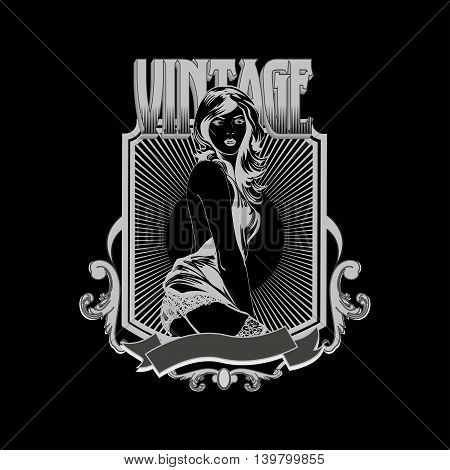 Vintage emblem with  pin up pretty woman