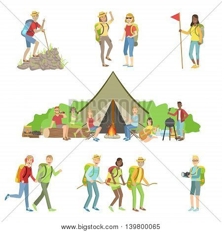 Young Friends On Hiking Trip Set Of Simple Childish Flat Colorful Illustrations On White Background